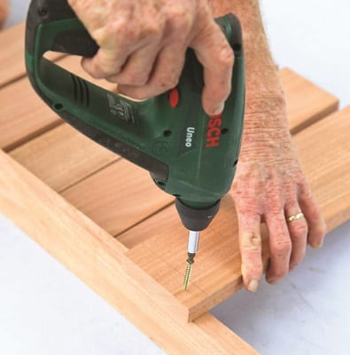 wooden bench drilling