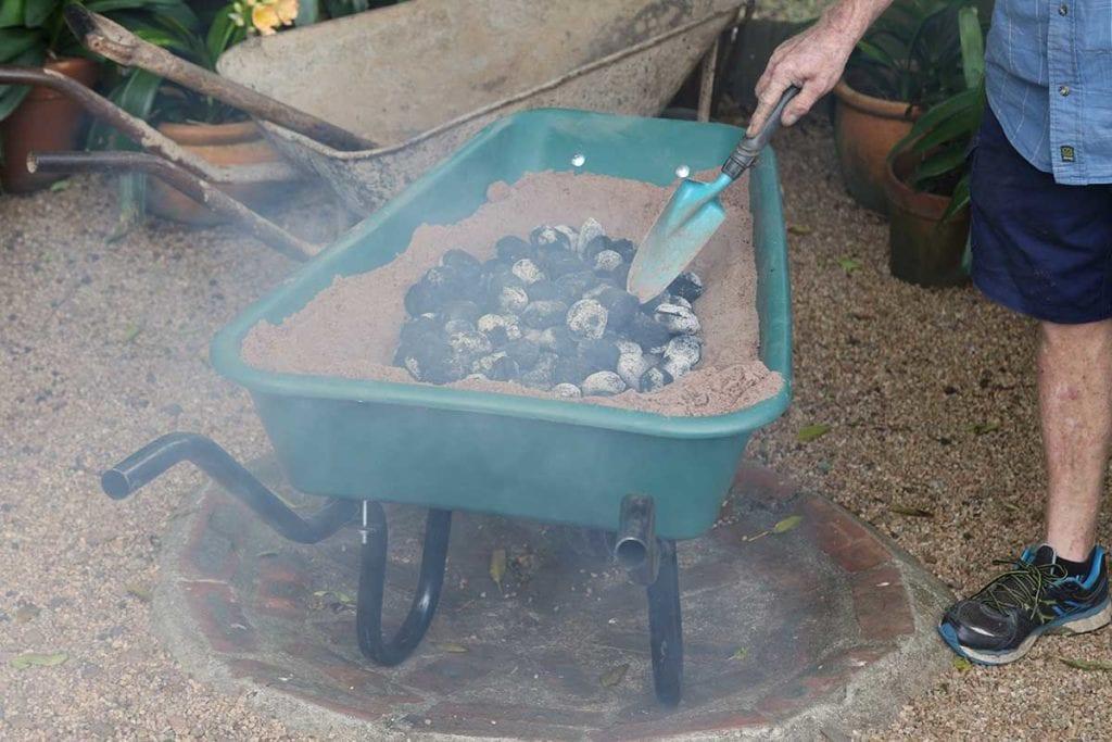 seafood in a wheelbarrow